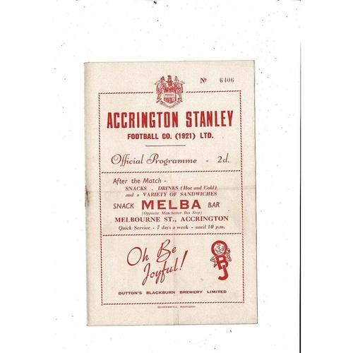 1953/54 Accrington Stanley v Barrow Football Programme