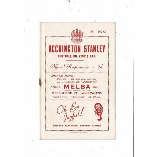 1953/54 Accrington Stanley v Carlisle United Football Programme