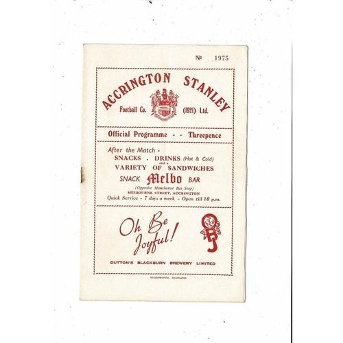 1953/54 Accrington Stanley v Chesterfield Football Programme