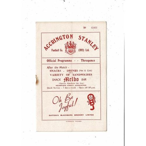 1953/54 Accrington Stanley v Barnsley Football Programme