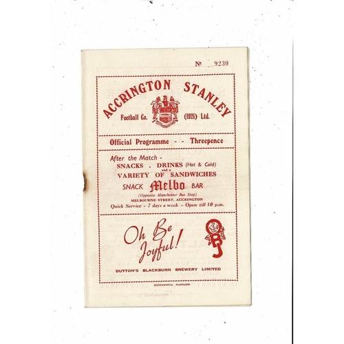 1953/54 Accrington Stanley v York City Football Programme