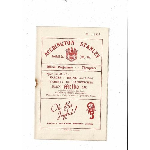 1953/54 Accrington Stanley v Scunthorpe United Football Programme