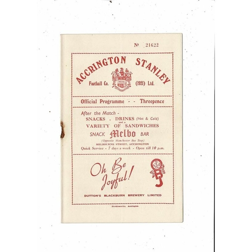 1953/54 Accrington Stanley v Mansfield Town Football Programme