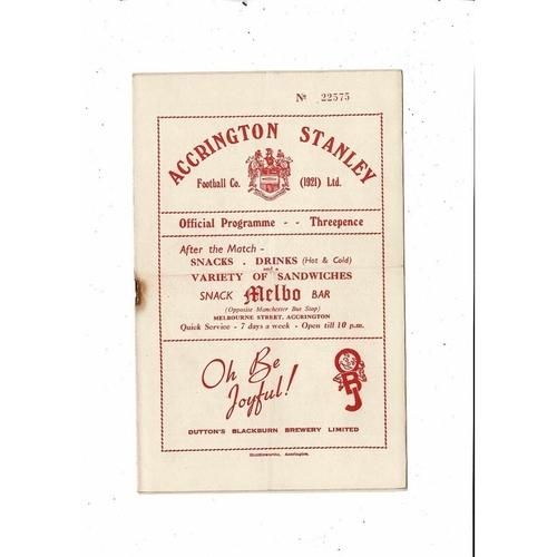 1953/54 Accrington Stanley v Gateshead Football Programme