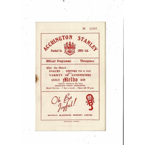 1953/54 Accrington Stanley v Tranmere Rovers FA Cup Football Programme