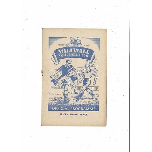 1951/52 Millwall v Gillingham Football Programme