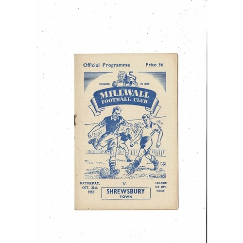 1953/54 Millwall v Shrewsbury Town Football Programme