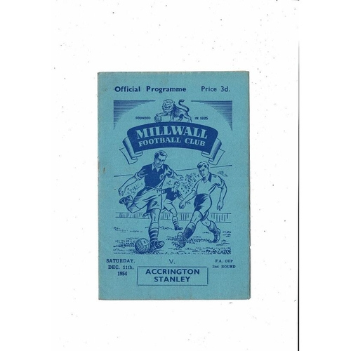 1954/55 Millwall v Accrington Stanley FA Cup Football Programme