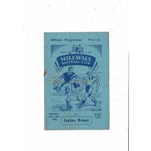 1954/55 Millwall v Leyton Orient Football Programme