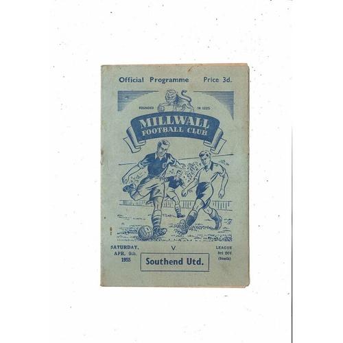 1954/55 Millwall v Southend United Football Programme