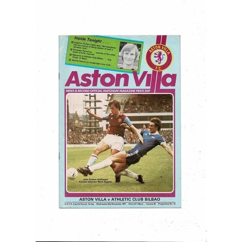 Aston Villa v Bilbao UEFA Cup Football Programme 1977/78