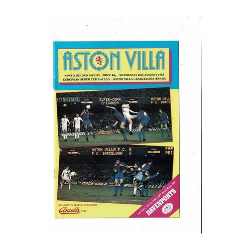1983 Aston Villa v Barcelona European Super Cup Final Football Programme