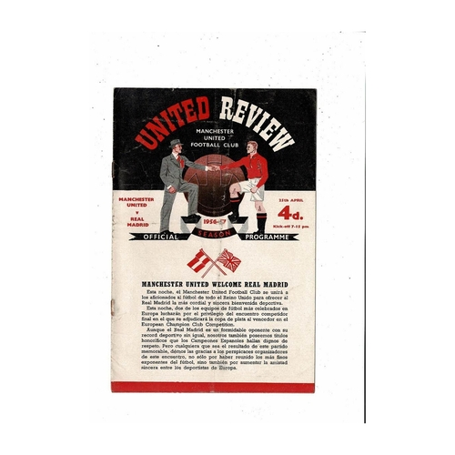 1957 Manchester United v Real Madrid European Cup Semi Final Football Programme