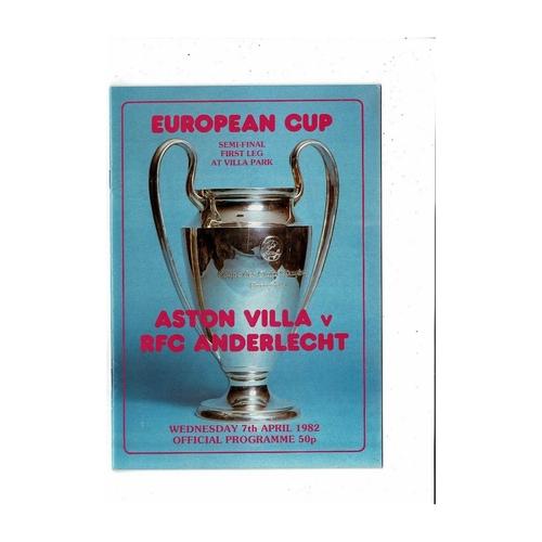 1982 Aston Villa v Anderlecht European Cup Semi Final Football Programme