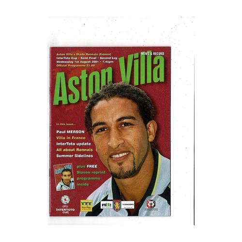 2001 Aston Villa v Stade Rennais InterToto Cup Semi Final Football Programme