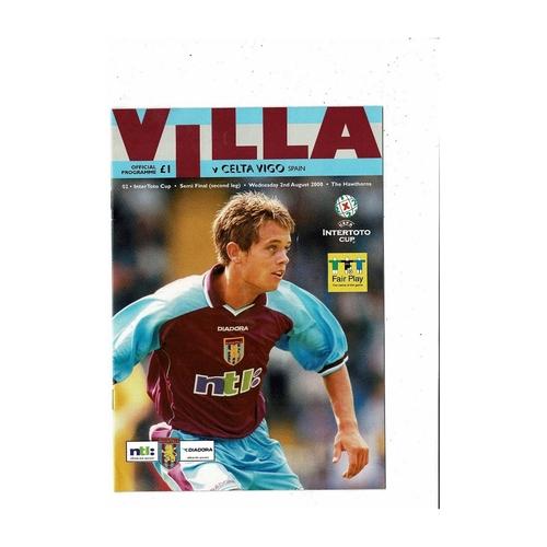 2000 Aston Villa v Celta Vigo InterToto Cup Semi Final Football Programme