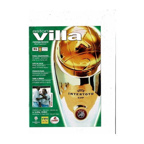 2002 Aston Villa v Lille Inter Toto Cup Semi Final Football Programme