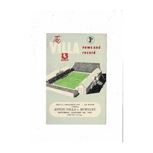 1950/51 Aston Villa v Burnley FA Cup Football Programme