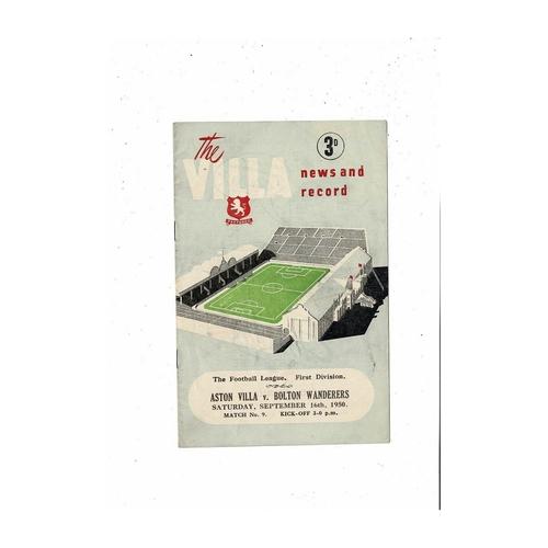 1950/51 Aston Villa v Bolton Wanderers Football Programme