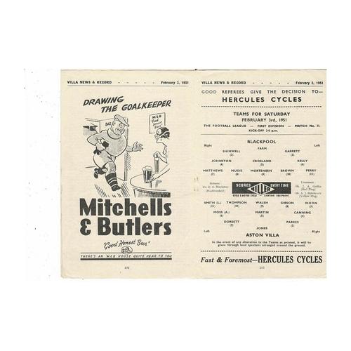 1950/51 Aston Villa v Blackpool Football Programme