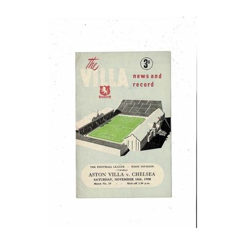 1950/51 Aston Villa v Chelsea Football Programme