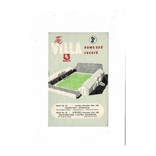 1950/51 Aston Villa v Charlton Football Programme includes Manchester United Res