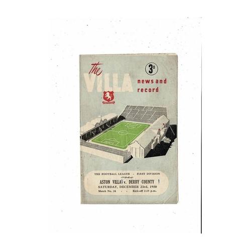 1950/51 Aston Villa v Derby County Football Programme