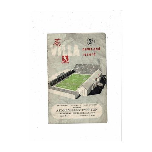 1950/51 Aston Villa v Everton Football Programme
