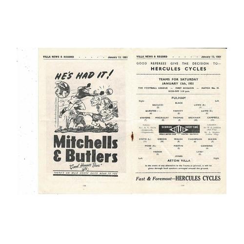 1950/51 Aston Villa v Fulham Football Programme