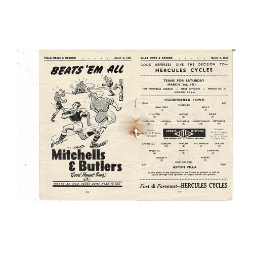 1950/51 Aston Villa v Huddersfield Town Football Programme