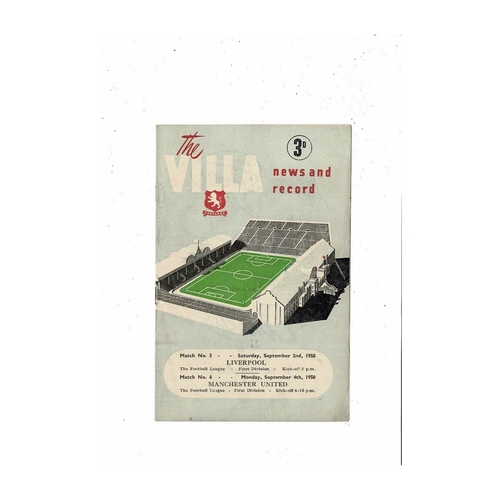 1950/51 Aston Villa v Liverpool & Manchester United Double Football Programme