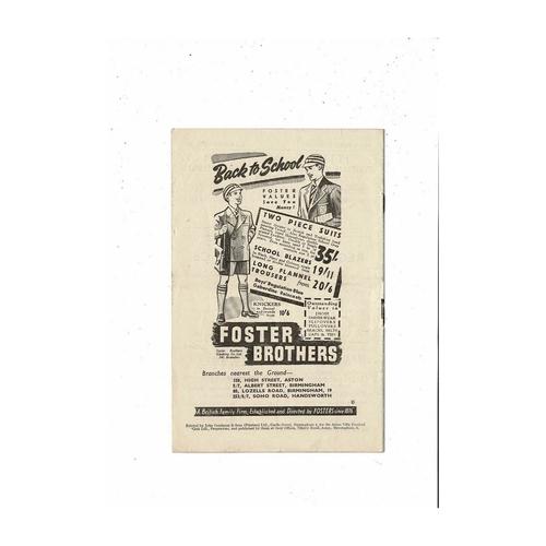 1950/51 Aston Villa v Liverpool & Manchester United Double Football Programme