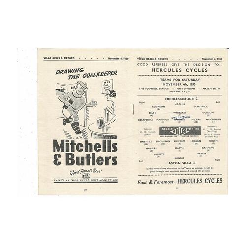 1950/51 Aston Villa v Middlesbrough Football Programme