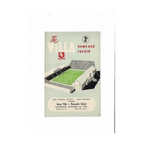 1950/51 Aston Villa v Newcastle United Football Programme
