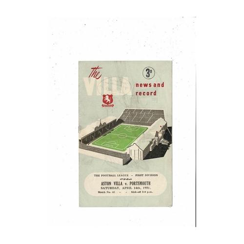 1950/51 Aston Villa v Portsmouth Football Programme