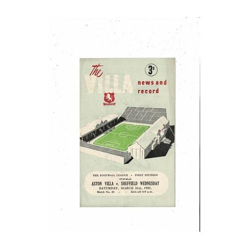 1950/51 Aston Villa v Sheffield Wednesday Football Programme