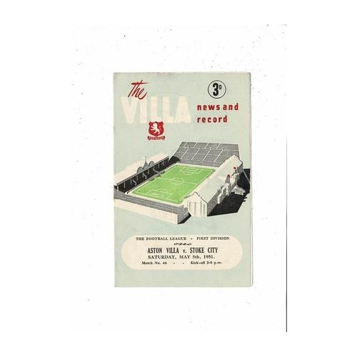 1950/51 Aston Villa v Stoke City Football Programme