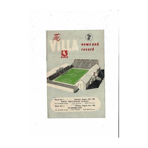 1950/51 Aston Villa v West Bromwich Albion & Sunderland Double Programme