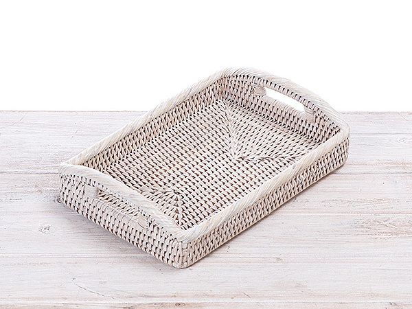 Rattan Small Tray with Arch Handle - L28 x W19 x H4.5 cm