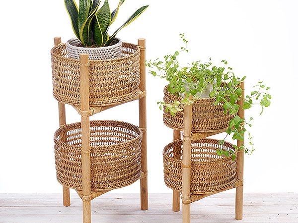 Two-tier Rattan Fruit Basket - Large/ Small