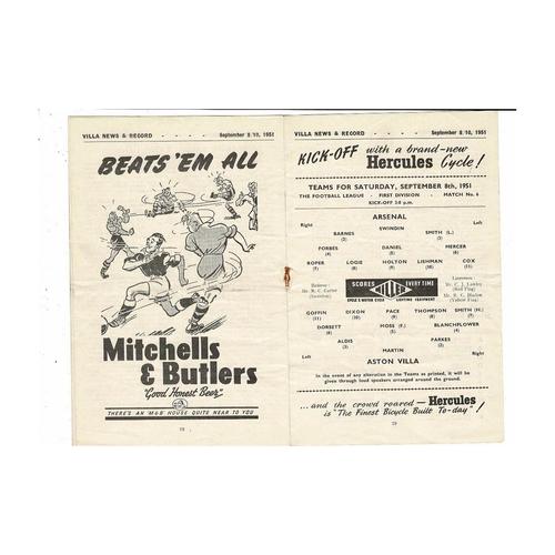 1951/52 Aston Villa v Arsenal & Huddersfield Town Double Football Programme