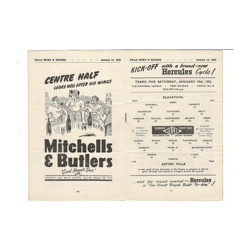1951/52 Aston Villa v Blackpool Football Programme
