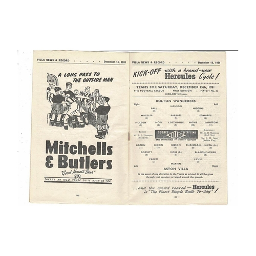 1951/52 Aston Villa v Bolton Wanderers Football Programme