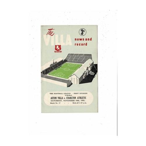 1951/52 Aston Villa v Charlton Athletic Football Programme