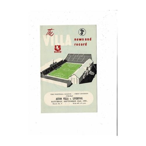 1951/52 Aston Villa v Liverpool Football Programme