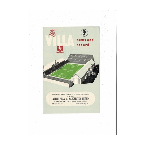 1951/52 Aston Villa v Manchester United Football Programme