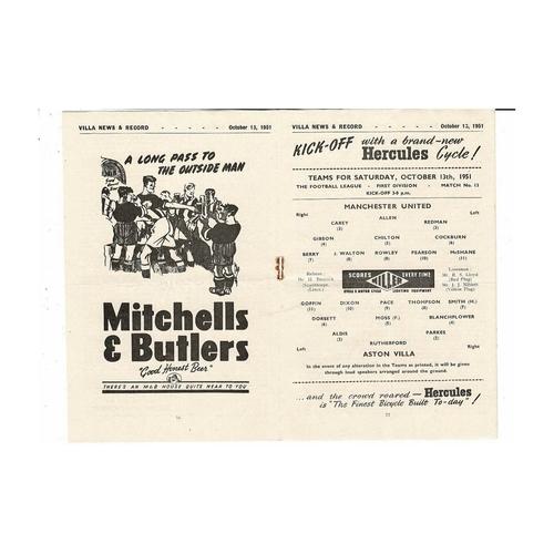 1951/52 Aston Villa v Manchester United Football Programme