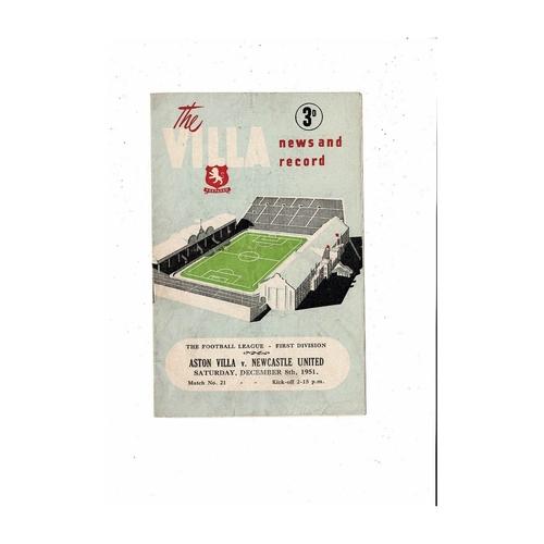 1951/52 Aston Villa v Newcastle United Football Programme