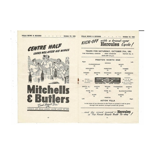 1951/52 Aston Villa v Preston Football Programme