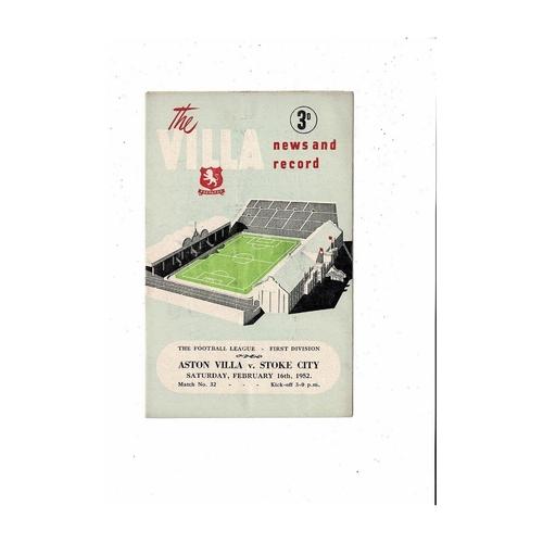 1951/52 Aston Villa v Stoke City Football Programme